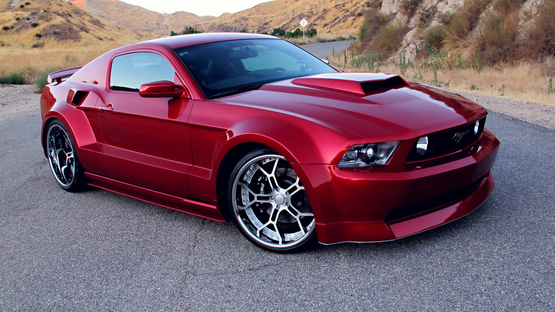 Ford Mustang GT Red Tuning Wide Body Wallpaper For Iphone