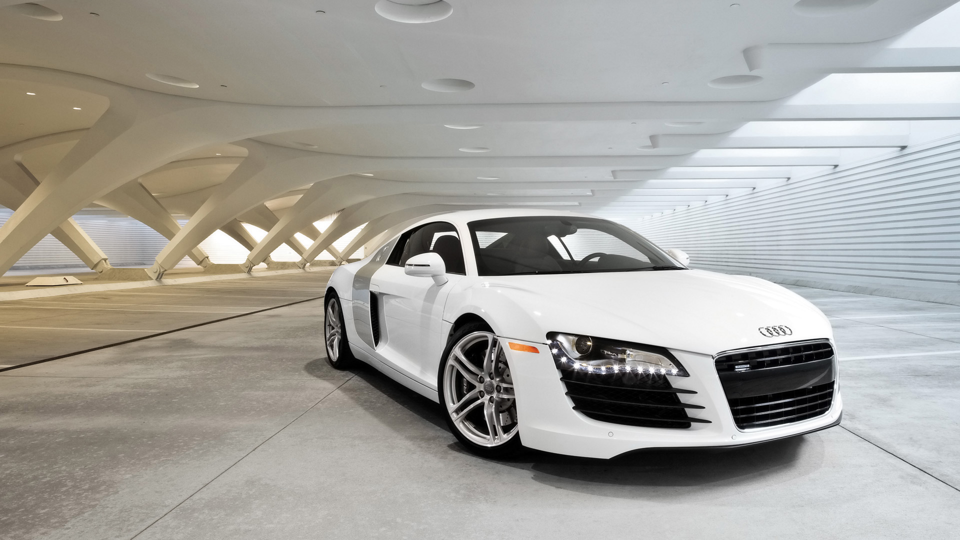 White Audi R8 Wallpaper HD Download