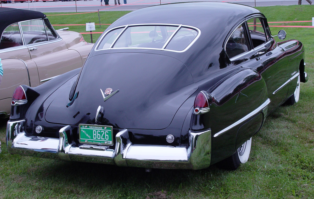 1949 Cadillac Club Coupe Fastback Rear Black PO Wallpaper For Phone