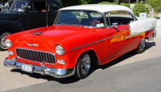 1955 Chevrolet Bel Air Hardtop Red White Side Angle Wallpapers For Iphone