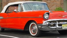 1957 Chevrolet Bel Air Convertible Red Front Angle Wallpaper For Android