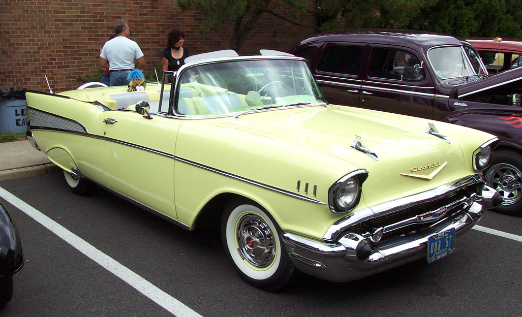 1957 Chevrolet Convertible Yellow Le Bel Air Wallpaper For Android