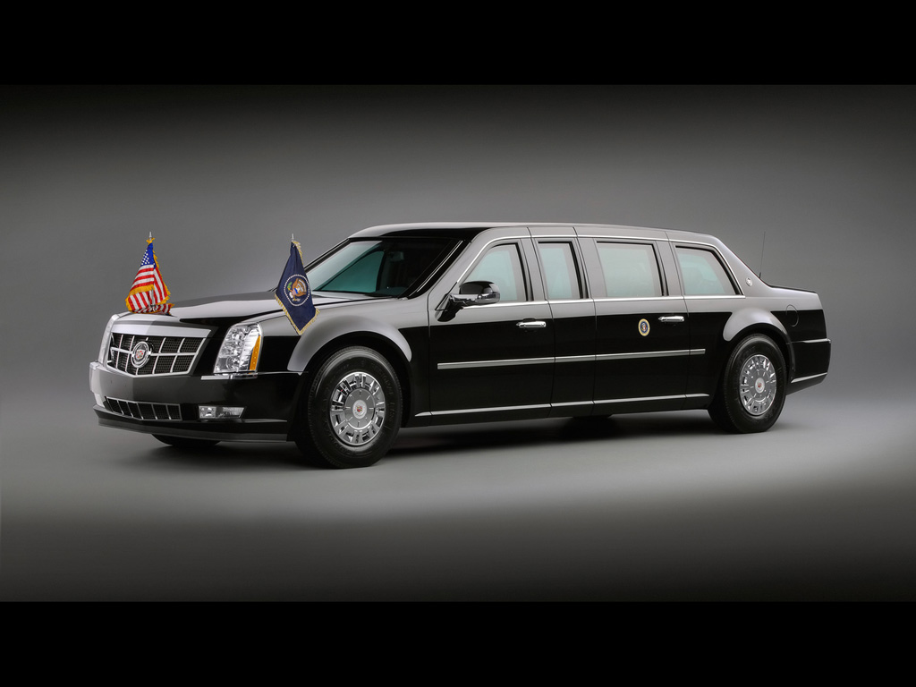 2009 Cadillac Presidential Limousine Front And Side Wallpaper For Ipad