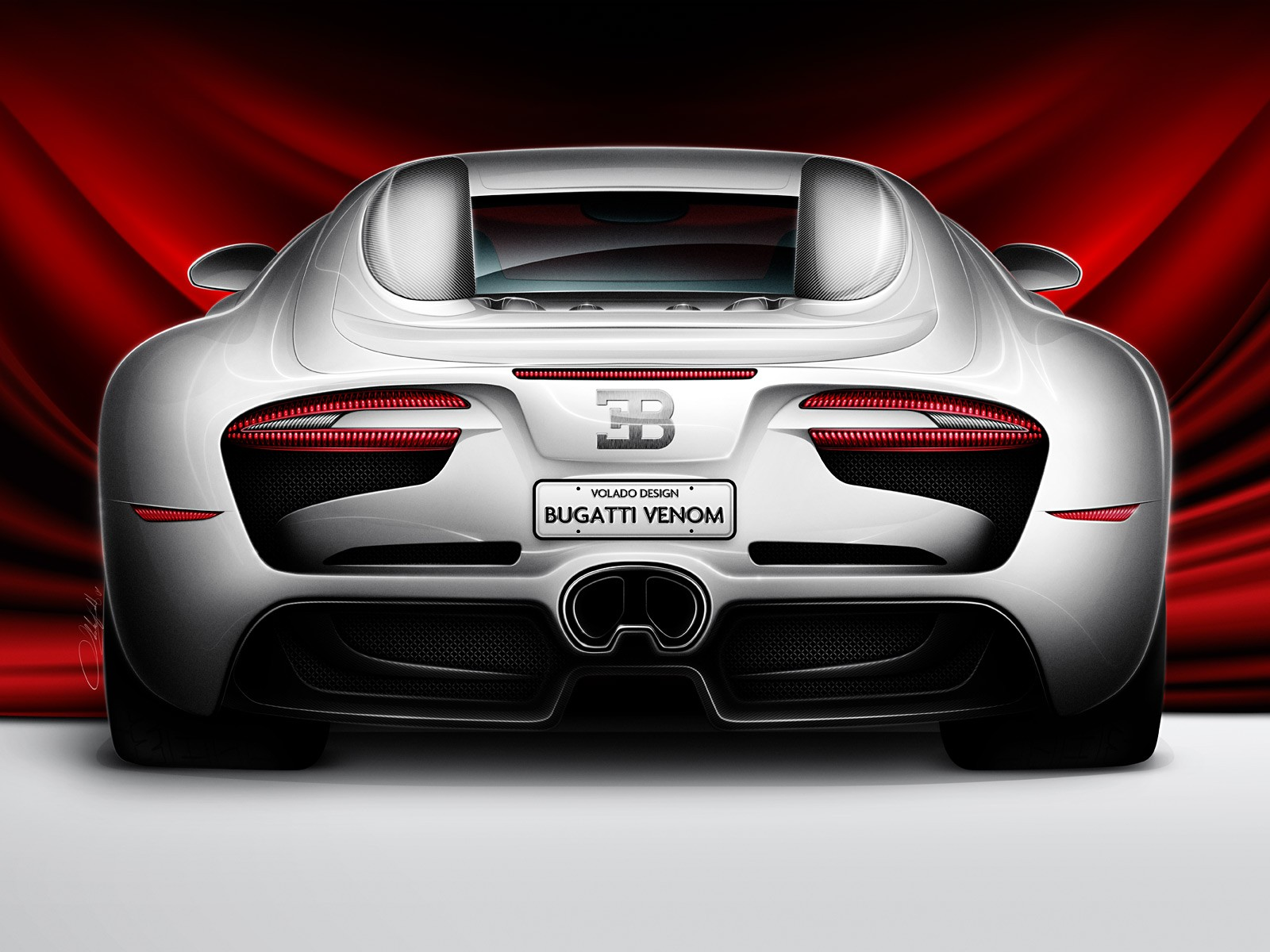Cars Bugatti Venom Concept Rear View HD Wall Gallery Free