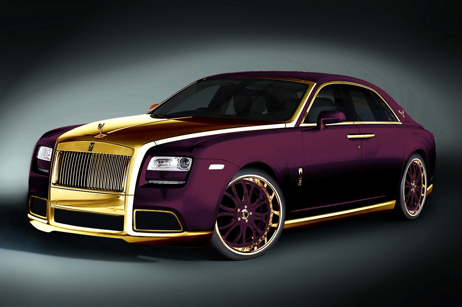 Rolls Royce Ghost Fenice Milano Purple and Gold Free Wallpaper Download