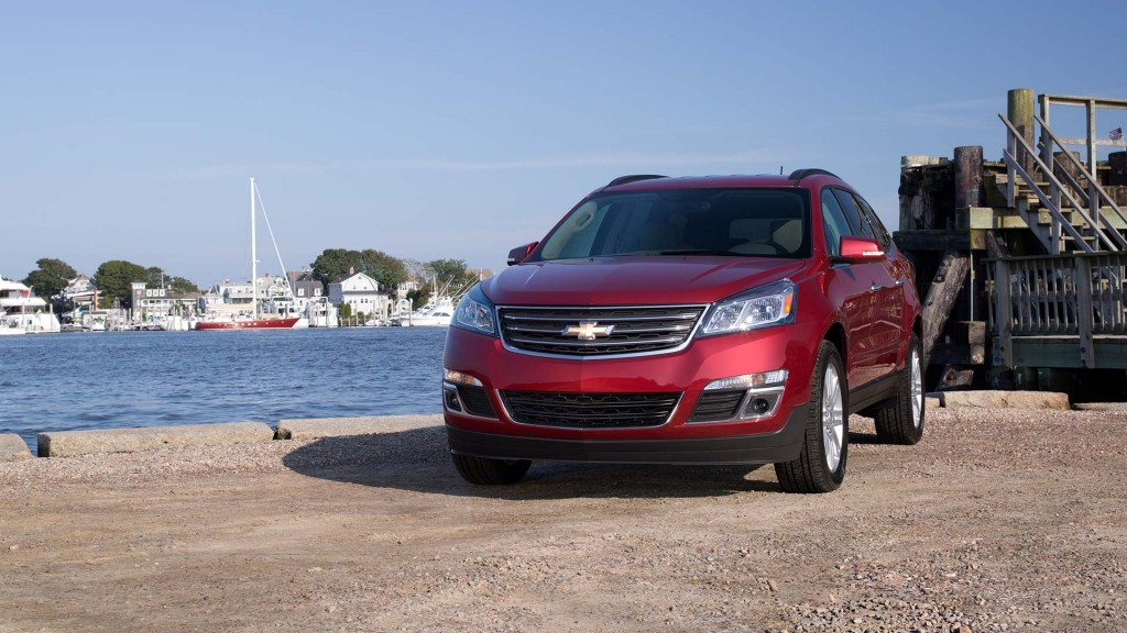 Front 3/4 of the 2014 Traverse LT Crossover SUV shown in available All