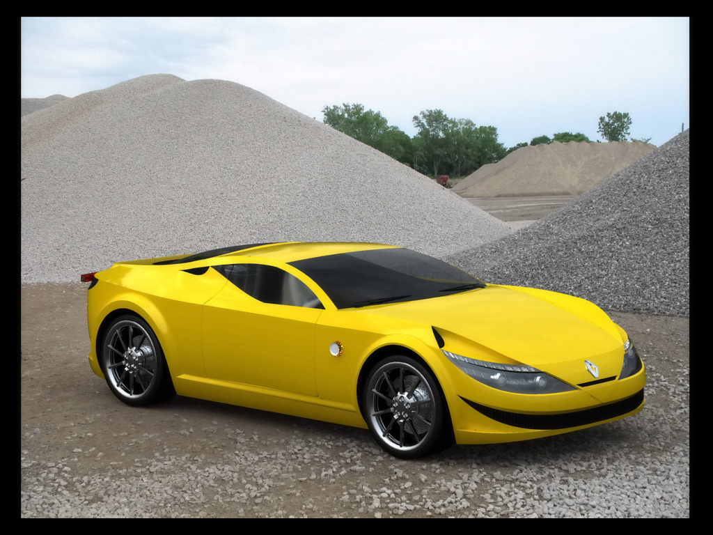 Renault New Alpine Concept Design Marcello Felipe Yellow Front And Side Car High Resolution Image Download