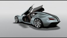 future Bugatti Aerolithe Concept Design by Douglas Hogg Rear And Side Steering Column Raised Free Download Image