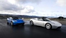 Blue and Silver Tesla Roadster side by side picture High Resolution Wallpaper Free