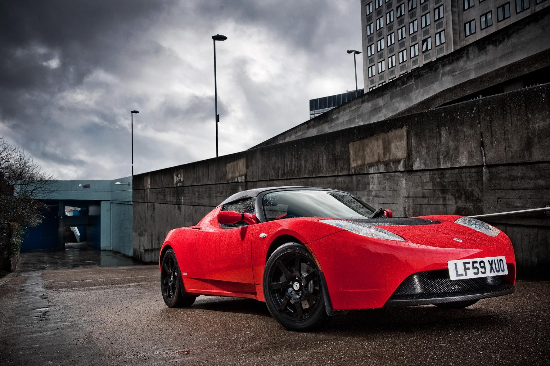 Tesla Roadster Sport side Wallpapers Desktop Download