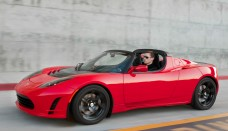 Tesla Roadster road from side Wallpapers Desktop Download