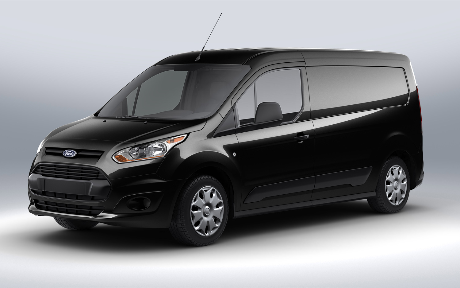 Ford Transit Connect black front three quarter free download image